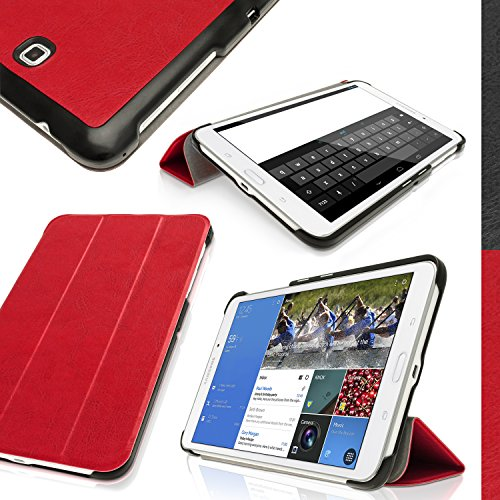 "Igadgitz Premium Red Pu Leather Smart Cover Case For Samsung Galaxy Tab 4 8"" Sm-T330 With Stand, Sleep/Wake + Screen Protector"