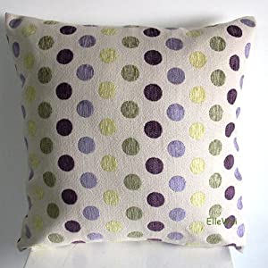 Purple Green Throw Pillow : Amazon.com - ElleWeiDeco Decorative Green/purple Dots Chenille Throw Pillow Cover (One Side ...