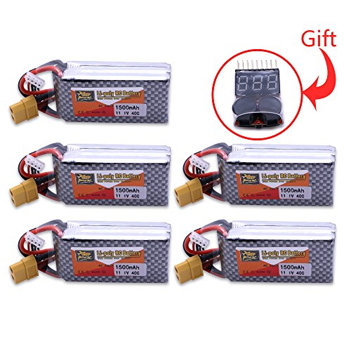 Generic 5pcs 11.1V 1500Mah 3S 40C Max 60C XT60 Plug Lipo Batteries Toy Parts For RC Quadcopter Drone Helicopter Car Airplane With Low Voltage Buzzer Alarm BB Ring (Ls Model Helicopter compare prices)