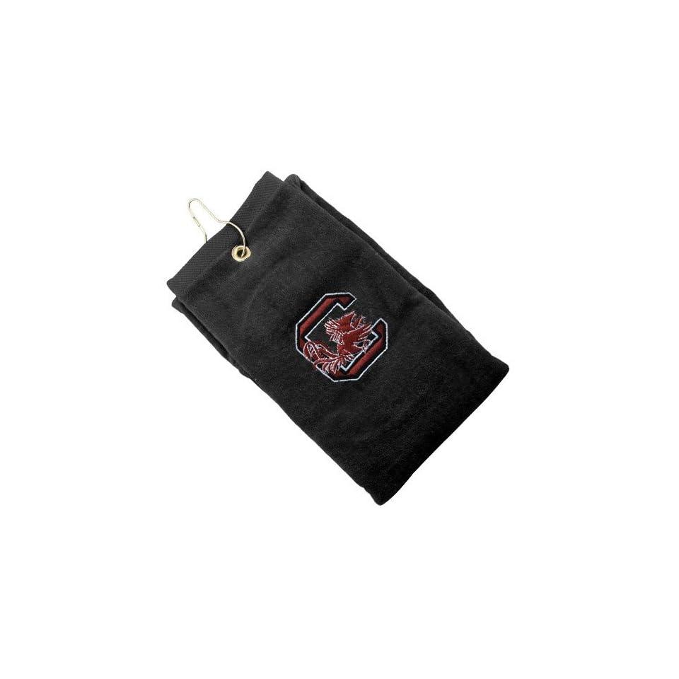 South Carolina Gamecocks Black Embroidered Velour Golf Towel