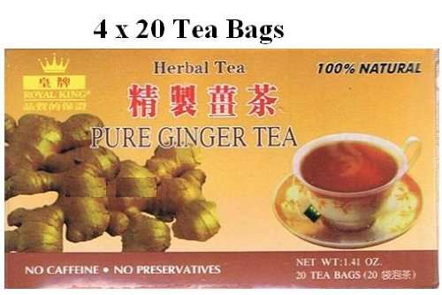 Royal King - Pure Ginger Tea - No Sugar - 4x20 Tea Bags