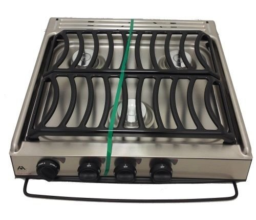 Atwood 52757 3 High Output Burners Stainless Top Piezo Ignition Stainless Steel Door Notched Counter