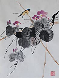 Oridental Artwork Unframed Hand Painted Art Chinese Brush Ink and Wash Watercolor Painting Drawing Picture on Rice Paper Bird Morning gGlory Decorations for Office Living Room Bedroom