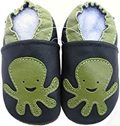 Carozoo baby boy soft sole leather infant toddler kids shoes Octopus Black 12-18m