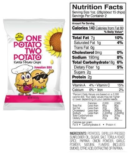 One Potato Two Potato Kettle Potato Chips Case of 24 - 2 oz Bags (Hawaiian BBQ)