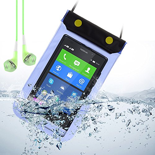 Universal Waterproof Bag Case For Nokia Xl / Nokia 930 / Lumia 630 / Lumia 929 / And Other Nokia Smartphone+ Vangoddy Green Headphone With Mic (Blue)