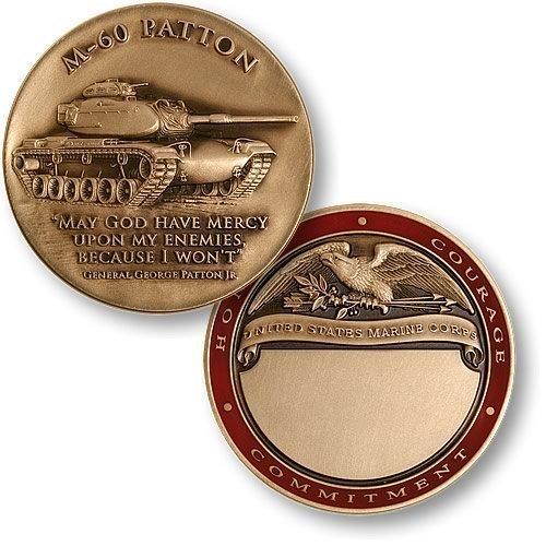 M-60 Patton Engravable Marines Challenge Coin