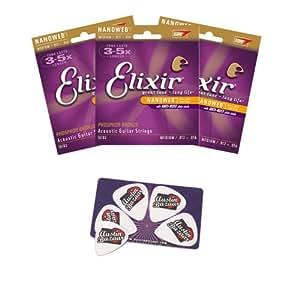 Elixir Strings Acoustic Phosphor Bronze Guitar Strings Nanoweb Coating, 6-String, Medium - 3 Pack with Picks