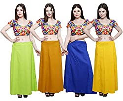 Pistaa combo of Women's Cotton Parrot Green, Mustard, Ink Blue and Yellow Color Best Indian Inskirt Saree petticoats