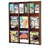 Wooden Mallet 9-Magazine/18-Brochure Divulge Wall Display with Brochure Inserts, Mahogany