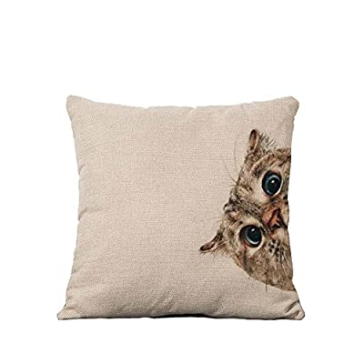 YOUR SMILE Cotton Linen Square Decorative Throw Pillow Case Cushion Cover 18x18 Inch(44CM*44CM)