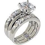 3.47 Ct. Round Cubic Zirconia Cz Solitaire Bridal Engagement Wedding 3 Piece Ring Set