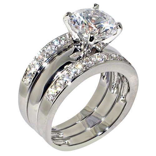 3.47 Ct. Round Cubic Zirconia Cz Solitaire Bridal Engagement Wedding 3 Piece Ring Set (6)