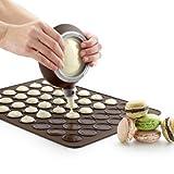 Foxnovo 48-circle Soft Silicone DIY Macaron Macaroon Baking Sheet Mat Macaron Mix Dispenser 4 Nozzles (Chocolate)