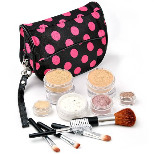 IQ Natural 12pc XL (Medium) Minerals Makeup Set with Black and Pink Polka Dot Cosmetic Bag!