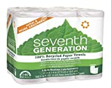 Seventh Generation White Paper Towels, 2-ply, 140-sheet Rolls, 6-Count (Pack of 4) (Packaging may vary)