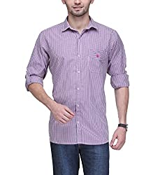 Macoro Men's Casual Shirt (SHIRTAC3057REDL_Red_Large)