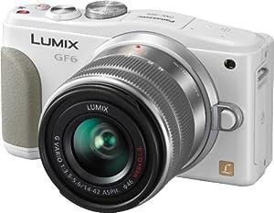 Panasonic DMC-GF6KEG-T appareil photo hybride (16 mégapixels, écran LCD 7,6 cm (3 pouces) , Full HD), avec H FS1442AE-S objectif zoom Lumix - blanc