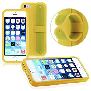 Yellow Thin Soft Silicone TPU Gel Case Cover with Removeable Stand For iPhone 5 5S