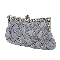 BMC Womens Evening Elegant Jeweled Rhinestone Pleated Cocktail Party Handbag-SILVER