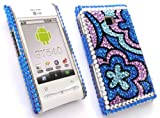 EMARTBUY LG GT540 OPTIMUS DIAMANTE HARD BACK COVER FLORAL BLUE + SCREEN PROTECTOR