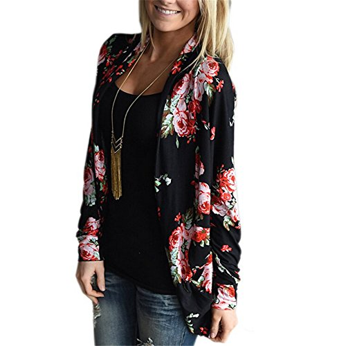 topme womens boho irregular long sleeve wrap kimono cardigans coat tops outwear black s apparel. Black Bedroom Furniture Sets. Home Design Ideas