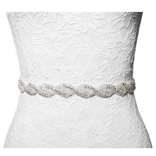 Thin Wedding Bridesmaid Dress Rhinestone Bridal Sash Belt with Crystal & Beads (36 inches, Ivory Satin Ribbon)