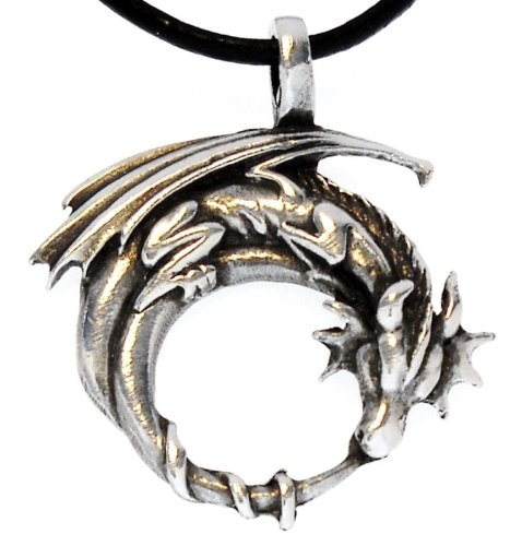 Gothic Dragon Silver Pewter Pendant Leather Necklace 18-20 Inch