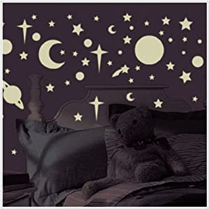 Glow in the Dark Stars & Planets Wall Stickers by Roommates