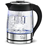 Chef's Star Borosilicate Glass Electric Kettle with Infuser, 1.8-Liter Electric Tea Kettle