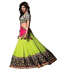 Dev Creation Embroidered georgette Lehenga in Green