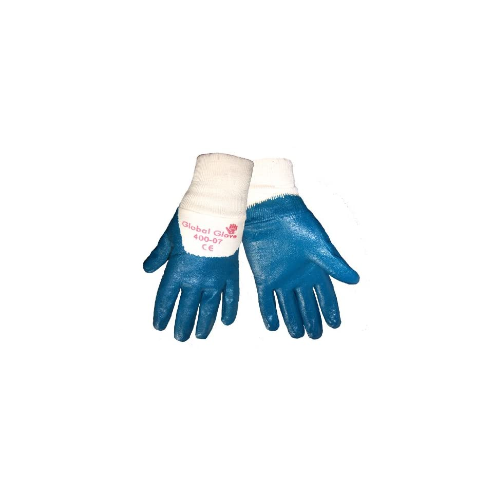 Global Glove 400 Nitrile Dipped 2 Piece Interlock Liner Glove with Knitwrist Cuff, Work, Large, Light Blue (Case of 72)