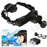 Andoer 8 Lens Handsfree Headband Head Strap Magnifier Watch Repair Jeweler Loupe with LED Light