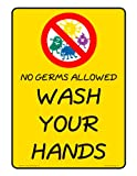 ComplianceSigns Plastic Wash Hands Sign, 7 x 5 in. with English Text, Yellow