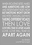 I am selling the lyrics to Joy Division - Love Will Tear Us Apart - Various Sizes, Colours And Options Available As A Poster, Print, Canvas or Framed.