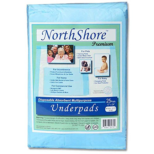 NorthShore Premium Changing Pads, Blue, 8 oz., Small Size 17 x 24, Pack/25