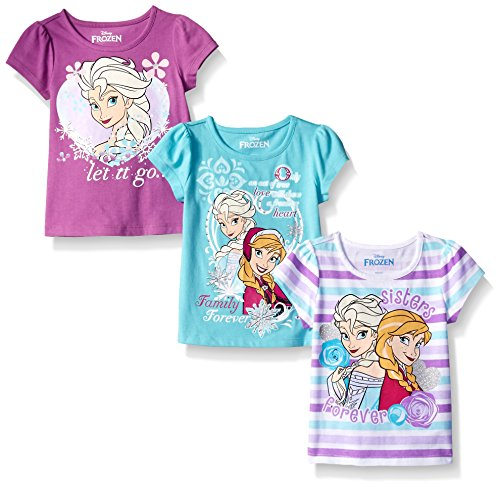 Disney Little Girls' 3 Pack Frozen Tees