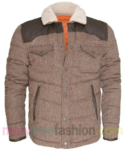 Mens Brown Bellfield Padded Quilted Tweed Wool Sheep Skin Fur Collar Coat Jacket XXL