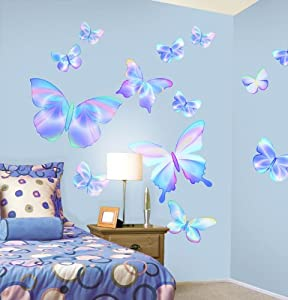 22 new blue butterfly wall bedroom girls nursery wall for Room decor ideas amazon