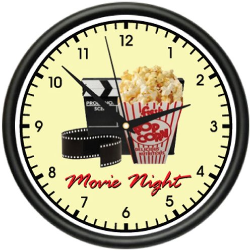 MOVIE NIGHT Wall Clock home theater theatre decor art (Popcorn Room Decor compare prices)