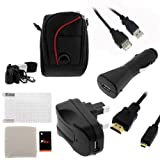 For Cisco Flip Video UltraHD 3rd Generation(8GB/2 hr) Accessories Kit:Black Nylon Case + HDMI Cable + Extension Cable + UK AC Charger + Car Charger + LCD Screen Protector By GTMax