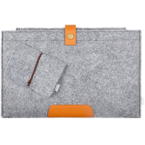 Inateck 15.4 Inch MacBook Pro Retina Display Ultrabook Netbook Bag Envelope Case Cover Felt Sleeve Carrying Protector Case Bag with Card Slot [Size: 15.4-Inch, Color: Grey]