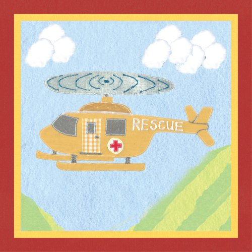 "Art 4 Kids ""Rescue Helicopter"" Mounted Art Print, 12""x12"""