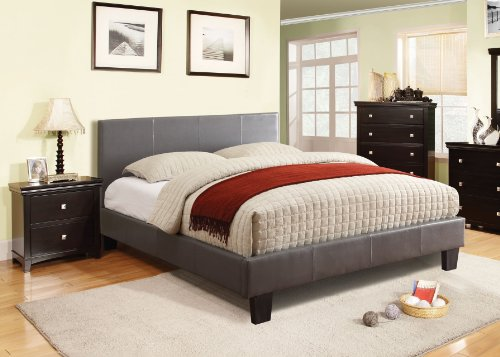 Furniture Of America Lauren Leatherette Upholstered Platform Bed, Full, Gray front-1023576