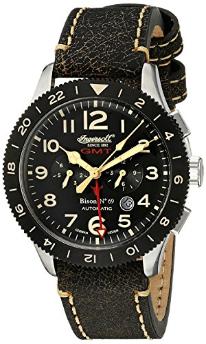 Ingersoll Unisex Automatic Watch with Black Dial Analogue Display and Black Leather Strap IN3224BK