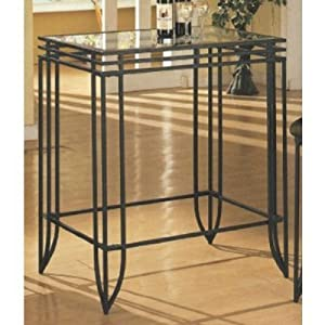 3 Pc Matrix Sandy Black Metal Bar Set , Table & 2 Stools