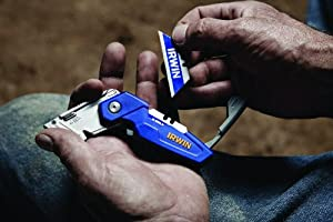 Irwin Tools FK150 1858319 Folding Utility Knife with Blade Storage (Color: Blue, Tamaño: Small)