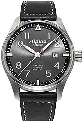 Alpina Startimer Pilot Automatic Grey Dial Black Leather Mens Watch AL-525GB4S6
