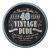 Creative Converting 8 Count Vintage Dude 40th Birthday Round Dessert Plates