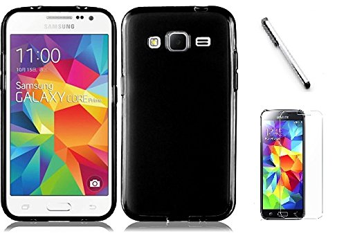 Samsung Galaxy E5 case, Luckiefind Frosted Matte TPU Flexible Thin Gel Cover Case, Stylus Pen & Screen Protector Accessory (TPU Black) (Samsung E5 compare prices)